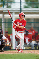GCL Phillies center fielder Mickey Moniak (15) hits a double down the line during a game against the GCL Pirates on August 6, 2016 at Pirate City in Bradenton, Florida.  GCL Phillies defeated the GCL Pirates 4-1.  (Mike Janes/Four Seam Images)
