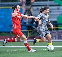 Brittany Bock, Tina DiMartino. The Western New York Flash defeated the Philadelphia Independence, 2-1, during the game at Quick Stadium in Chester, PA.