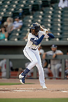 Shortstop Ronny Mauricio (2) of the Columbia Fireflies bats in a game against the Rome Braves on Saturday, August 17, 2019, at Segra Park in Columbia, South Carolina. Rome won, 4-0. (Tom Priddy/Four Seam Images)