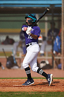 Irving Ramos (12) bats during the Perfect Game National Underclass East Showcase on January 23, 2021 at Baseball City in St. Petersburg, Florida.  (Mike Janes/Four Seam Images)