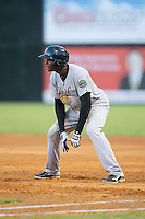 Estevan Florial (55) of the Pulaski Yankees takes his lead off of first base against the Danville Braves at American Legion Post 325 Field on August 1, 2016 in Danville, Virginia.  The Yankees defeated the Braves 4-1.  (Brian Westerholt/Four Seam Images)