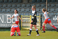 Amber De Priester (6) of Zulte Waregem pictured celebrating her goal during a female soccer game between Eendracht Aalst and SV Zulte Waregem on the fourth matchday of play off 2 of the 2020 - 2021 season of Belgian Scooore Womens Super League , Saturday 1 st of May 2021  in Aalst , Belgium . PHOTO SPORTPIX.BE | SPP | DIRK VUYLSTEKE