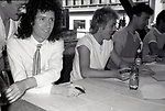 "Brian May, Roger Taylor and John Deacon of Queen attend Queen Press Conference for ""Hot Space"" at Crazy Eddie's on July 27, 1982  in New York City."