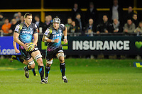 Ian Evans of Ospreys attacks during the LV= Cup second round match between Ospreys and Northampton Saints at Riverside Hardware Brewery Field, Bridgend (Photo by Rob Munro)
