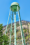 In the city of Newhalem, Washington, a water tower stands ironically before a forest burned by wildfire.