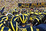 30 August 2008: Michigan players huddle before an NCAA college football game between the Michigan Wolverines and the Utah Utes, at Michigan Stadium in Ann Arbor, Michigan. Utah upset Michigan, winning 25-23.