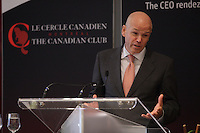 September 23 2013 -  John Godber (L),  President Canadian Club of Montreal 2013-2024 introduce BONNIE BROOKS, PRESIDENT OF HBC, HUDSON'S BAY COMPANY, before she  DELIVERS A SPEECH TO THE CANADIAN CLUB OF MONTREAL.