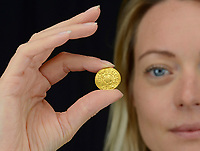 BNPS.co.uk (01202 558833)<br /> Pic: DixNoonanWebb/BNPS<br /> <br /> A metal detectorist has unearthed a unique 1,200 year old Anglo-Saxon gold coin which is now tipped to sell for £200,000.<br /> <br /> The Gold Penny, or Mancus of 30 Pence, was struck on behalf of Penny of Ecgberht, King of the West Saxons, in the early 9th century.<br /> <br /> It was dug up by the unnamed finder in a field in the village of West Dean on the Wiltshire/Hampshire border in March 2020.<br /> <br /> The finder, who has been detectoring for eight years, was searching a five acre area of pasture at the bottom of a hill when he got a strong signal on his machine.