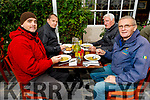 Chris Riley, Brian Mannion, Christy O'Donoghue and Jim Enright enjoying Al Fresco dining in Kilcoolys Bar and Restaurant Ballybunion on Saturday.