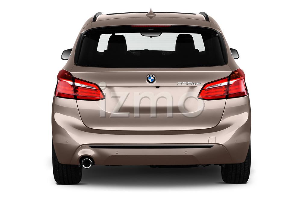 Straight rear view of a 2018 BMW 2 Series 225xe iperformance 5 Door Mini Van stock images