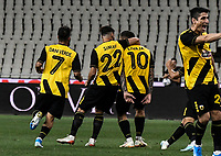Players of AEK's celebrate the first goal of their team from Marko Livaja during of the UEFA Europa League play-off, 1st leg, soccer match between AEK Athens FC and Trabzonspor at the OAKA Spyros Louis Stadium in Athens, Greece on August 22, 2019.