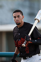 Billy Hamilton #4 of the Bakersfield Blaze before a game against the Lancaster JetHawks at Clear Channel Stadium on May 7, 2012 in Lancaster,California. (Larry Goren/Four Seam Images)