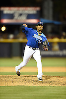 ***Temporary Unedited Reference File***Corpus Christi Hooks starting pitcher Edison Frias (47) during a game against the Frisco RoughRiders on April 23, 2016 at Whataburger Field in Corpus Christi, Texas.  Corpus Christi defeated Frisco 3-2.  (Mike Janes/Four Seam Images)