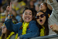 Chiefs fans celebrate during the Super Rugby Aotearoa match between the Hurricanes and Chiefs at Sky Stadium in Wellington, New Zealand on Saturday, 20 March 2020. Photo: Dave Lintott / lintottphoto.co.nz
