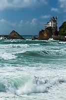 France, Aquitaine, Pyrénées-Atlantiques, Pays Basque, Biarritz: Plage de la Côte des Basques , la Villa Belza   //  France, Pyrenees Atlantiques, Basque Country, BIarritz : the Côte des Basques beach, Villa Belza