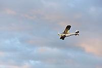 Bush plane on wheels approaches for landing on airstrip near Lake Hood, Anchorage, Alaska.