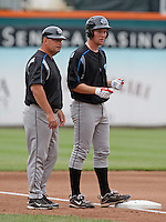 """Syracuse Chiefs starting pitcher Stephen Strasburg (37) talks with manager Trent Jewett in the fourth inning during a game vs. the Buffalo Bisons at Coca-Cola Field in Buffalo, New York;  Thursday June 3, 2010.  Syracuse defeated Buffalo by the score of 7-1 as Strasburg picked up his fourth win of the season in """"AAA"""".  Photo By Mike Janes/Four Seam Images"""