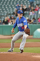 Las Vegas 51s starting pitcher Logan Verrett (35) delivers a pitch to the plate against the Salt Lake Bees in Pacific Coast League action at Smith's Ballpark on May 8, 2014 in Salt Lake City, Utah.  (Stephen Smith/Four Seam Images)