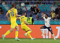 3rd July 2021, Stadio Olimpico, Rome, Italy;  Euro 2020 Football Championships, England versus Ukraine quarter final;  Raheem Sterling of England competes with Andriy Yarmolenko of Ukraine