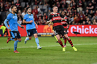 1st May 2021; Bankwest Stadium, Parramatta, New South Wales, Australia; A League Football, Western Sydney Wanderers versus Sydney FC; Mitch Duke of Western Sydney Wanderers watches his goal bound shot to score and make it 2-0 in the 16th minute