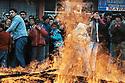 Turkey 2005 Nowruz in the street of Dogubayazit, the crowd and the fire <br /> Turquie 2005  Célébration de Nowruz à Dogubayazit, la foule et le feu allumé dans la rue