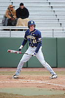 Pittsburgh Panthers outfielder Casey Roche (40) during game against the St. John's Redstorm at Jack Kaiser Stadium on March 22, 2013 in Queens, New York.  Pittsburgh defeated St. John's 12-9.  (Tomasso DeRosa/Four Seam Images)