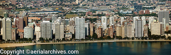 aerial photograph highrise apartment towers northern waterfront Chicago, Illinois