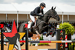 October 17, 2021: Jonelle Price (NZL), aboard Classic Moet, competes during the Stadium Jumping Final at the 5* level during the Maryland Five-Star at the Fair Hill Special Event Zone in Fair Hill, Maryland on October 17, 2021. Jon Durr/Eclipse Sportswire/CSM