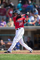 Nadir Ljatifi (37) of the Billings Mustangs follows through on his swing against the Missoula Osprey at Dehler Park on August 20, 2017 in Billings, Montana.  The Osprey defeated the Mustangs 6-4.  (Brian Westerholt/Four Seam Images)