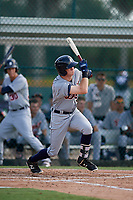 Detroit Tigers left fielder Kingston Liniak (9) follows through on a swing during a Florida Instructional League game against the Pittsburgh Pirates on October 2, 2018 at the Pirate City in Bradenton, Florida.  (Mike Janes/Four Seam Images)