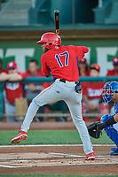 Trent Deveaux (17) of the Orem Owlz at bat against the Ogden Raptors at Lindquist Field on September 3, 2019 in Ogden, Utah. The Raptors defeated the Owlz 12-0. (Stephen Smith/Four Seam Images)