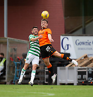 22nd August 2020; Tannadice Park, Dundee, Scotland; Scottish Premiership Football, Dundee United versus Celtic; Luke Bolton of Dundee United competes in the air with Greg Taylor of Celtic