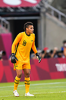 KASHIMA, JAPAN - AUGUST 2: Adrianna Franch #18 of the United States looks on during a game between Canada and USWNT at Kashima Soccer Stadium on August 2, 2021 in Kashima, Japan.