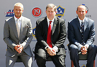 David Beckham (R) LA Galaxy Owner Timothy Leiweke (C) and MLS President Don Garber (R) at his LA Galaxy press conference, along with Head Coach Frank Yallop at the Home Depot Center in Carson, California, Friday, July 13, 2007.