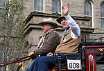 Grand Marshall Bernie Allen waves to the crowd in the annual Nevada Day parade in Carson City, Nev. on Saturday, Oct. 29, 2016. <br />Photo by Cathleen Allison