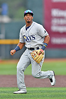 Princeton Rays shortstop Wander Franco (6) during a game against the Johnson City Cardinals at TVA Credit Union Ballpark on August 9, 2018 in Johnson City, Tennessee. The Rays defeated the Cardinals 10-2. (Tony Farlow/Four Seam Images)