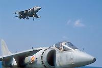 "- vertical take-off aircrafts AV-8 ""Harrier- Matador"" on the aircraft carrier Principe de Asturias<br /> <br /> - aerei a decollo verticale AV-8 ""Harrier - Matador"" a bordo della portaerei Principe de Asturias"
