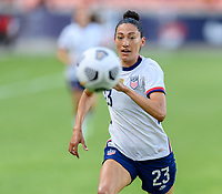 HOUSTON, TX - JUNE 10: Christen Press #23 of the United States chases after a loose ball during a game between Portugal and USWNT at BBVA Stadium on June 10, 2021 in Houston, Texas.