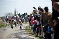 Niki Terpstra (NLD/Etixx-QuickStep), John Degenkolb (DEU/Giant-Alpecin), Peter Sagan (SVK/Tinkoff-Saxo) lead an elite group in pursuit of the race leaders in sector 6B: Bourghelles à Wannehain (1.1km)<br /> <br /> 113th Paris-Roubaix 2015