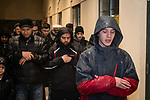 WATERBURY, CT. 01 January 2019-010119 - Din Spataj of Waterbury leads a group of muslims in prayers during a peaceful protest of the Boards management of the Mosque at Masjid Al Mustafa in Waterbury on Tuesday. Bill Shettle Republican-American