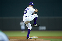 Winston-Salem Dash relief pitcher Jacob Lindgren (28) in action against the Lynchburg Hillcats at BB&T Ballpark on August 1, 2019 in Winston-Salem, North Carolina. The Dash defeated the Hillcats 9-7. (Brian Westerholt/Four Seam Images)