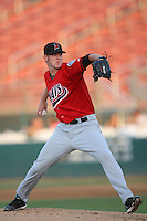 May 14 2009: Nathan Adcock of the High Desert Mavericks pitches against the Rancho Cucamonga Quakes at The Epicenter in Rancho Cucamonga,CA.  Photo by Larry Goren/Four Seam Images