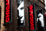 Posters for the production of 'Chicago' at West 49th Street in the Theatre District., New York City.