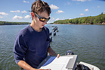 Colin Eimers Recording Growth Measurments Of Oysters, Sasanoa River