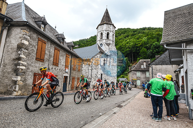 The breakaway during Stage 16 of the 2021 Tour de France, running 169km from Pas de la Case to Saint-Gaudens, France. 13th July 2021.  <br /> Picture: A.S.O./Charly Lopez | Cyclefile<br /> <br /> All photos usage must carry mandatory copyright credit (© Cyclefile | A.S.O./Charly Lopez)