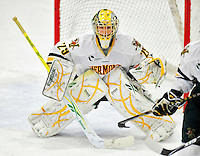 26 November 2010: University of Vermont Catamount goaltender Rob Madore, a Junior from Pittsburgh, PA, in overtime action against the Northeastern University Huskies at Gutterson Fieldhouse in Burlington, Vermont. Madore turned away 23 shots as the Catamounts and the Huskies battled to a 2-2 tie. Mandatory Credit: Ed Wolfstein Photo
