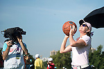 Paula Creamer plays basketball at the 17th hole during the World Celebrity Pro-Am 2016 Mission Hills China Golf Tournament on 22 October 2016, in Haikou, China. Photo by Weixiang Lim / Power Sport Images