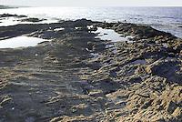 - island of Pantelleria,  the coast near Khattibuale, formed by an ancient lava casting ....- isola di Pantelleria, la costa nei pressi di Khattibuale, formata da una antica colata di lava