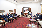Palestinian president Mahmoud Abbas meets with end division's authority, in the West Bank city of Ramallah on August 8, 2021. Photo by Thaer Ganaim