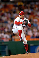 3 September 2005: Joey Eischen, relief pitcher for the Washington Nationals, on the mound during a game against the Philadelphia Phillies. The Nationals defeated the Phillies 5-4 at RFK Stadium in Washington, DC. <br />
